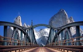Bridge, road, mountains, blue sky