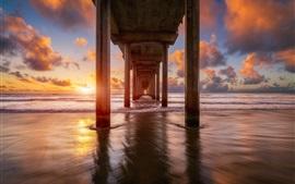 Preview wallpaper Bridge, sea, sunset