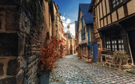 Бретань, Динан, Франция, город, дома, улица