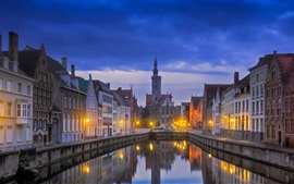 Bruges, Belgium, city, river, night, lights, houses