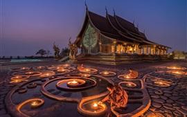 Budista, templo, monje, noche, vela, Myanmar