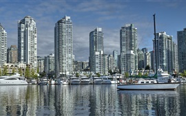 Canada, Vancouver, British Columbia, Yaletown, port, yachts, city buildings