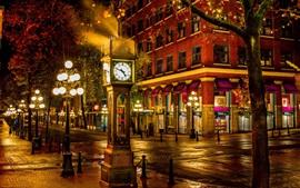 Canadá, vancouver, rua, noturna, cidade, relógio grande, luzes