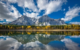 Canada, Wedge Pond, lake, forest, mountains, water reflection