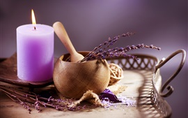 Preview wallpaper Candle, lavender, flame