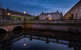 Castle Ampsen, Netherlands, river, bridge