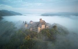 Aperçu fond d'écran Château, brouillard, montagnes, arbres, matin, vue de dessus