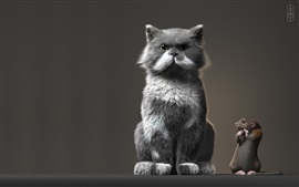 Preview wallpaper Cat and mouse stand together