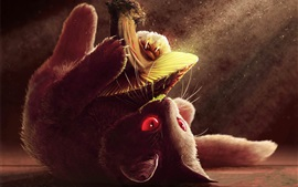 Preview wallpaper Cat play mushroom, art picture