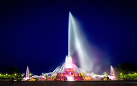 Preview wallpaper Chicago, Buckingham Fountain, illumination, night, beautiful, USA
