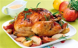 Preview wallpaper Chicken, apples, dish, food