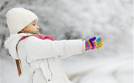 Preview wallpaper Child girl in winter, coat, hat, glove, snow