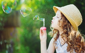 Preview wallpaper Children, cute little girl play bubble, love heart