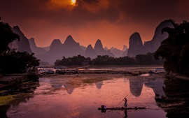 China, Li river, scavenger, ships, mountains, sunrise