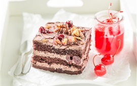 Preview wallpaper Chocolate cake, dessert, cherry