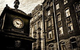 City, big clock, street