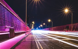 Preview wallpaper City, night, bridge, lights, light lines