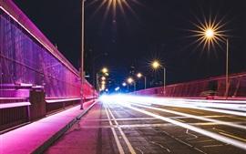 City, night, bridge, lights, light lines