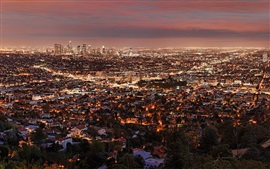 City night, lights, top view, Los Angeles, USA