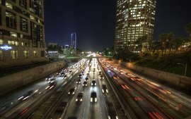 Preview wallpaper City night, roads, cars, Los Angeles, USA