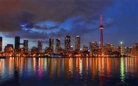 Preview wallpaper Cityscape, night, skyline, lights, river, tower