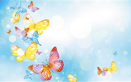Preview wallpaper Colorful butterflies, circles, blue background