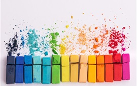 Colorful chalks, white background