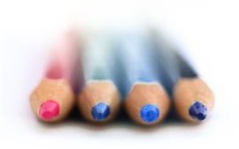 Colorful pencils, white background