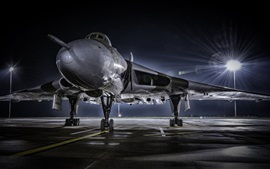 Preview wallpaper Combat aircraft front view, airport, night