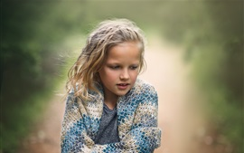 Preview wallpaper Cute child girl, blonde, cold