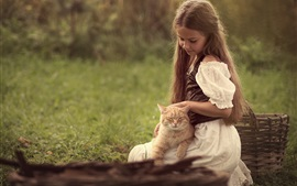 Preview wallpaper Cute little girl and cat