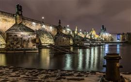 Чешская Республика, Прага, мост, река, огни, ночь