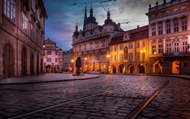 Czech Republic, Prague, city at night, houses, road, lights