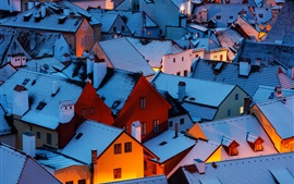 Czech Republic, night, roof, houses, snow, winter