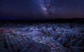 Danxia Landform, mountains, night, stars, China
