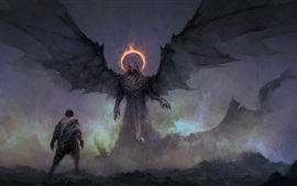Preview wallpaper Darkness, monster, wings, art painting