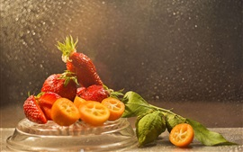 Preview wallpaper Delicious strawberry, fruit, lime, water drops