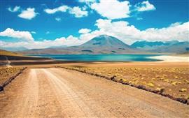 Deserto, montanha, estrada, lago, atacama, chile