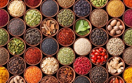 Preview wallpaper Diversity spices, turmeric, pepper, cardamom, star anise, mustard