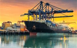 Preview wallpaper Dock, ship, container, sea