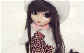 Preview wallpaper Doll girl, toy, hat, winter