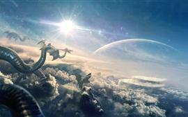 Дракон, полет, облака, планета, художественная фотография