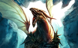 Preview wallpaper Dragon flying, wings, art picture