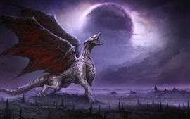 Дракон, рев, крылья, планета, ночь, художественная фотография
