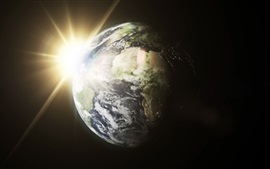 Preview wallpaper Earth, sun, light rays, space