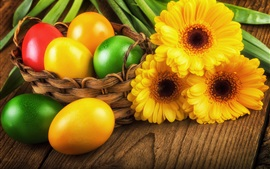 Preview wallpaper Easter eggs, yellow gerbera, spring