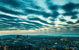 Edimburgo, Escócia, paisagem urbana, luzes, crepúsculo