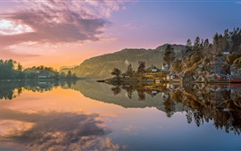 Egersund, Norway, mountains, trees, houses, lake, water reflection