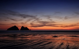 Preview wallpaper England, Cornwall, sunset, seascape, sea