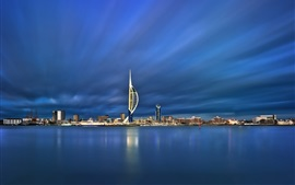 England, Portsmouth, harbour, blue sea, dusk